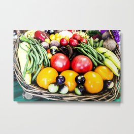 Veggie Basket Metal Print