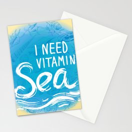 i need vitamin sea White text on blue background, Summer sea shells, molluscs Stationery Cards