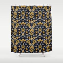 Navy Blue, Turquoise, Cream & Mustard Yellow Dark Floral Pattern Shower Curtain