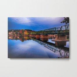 Autumn Evening View of the New Hope-Lambertville Bridge Spanning the Delaware River , New Hope, Pennsylvania Metal Print