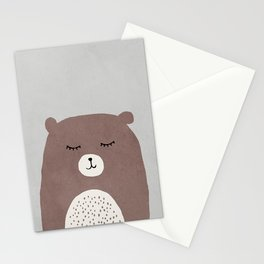 Mid century bear kids art Stationery Cards
