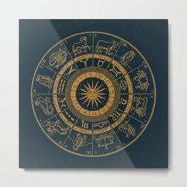 Vintage Zodiac & Astrology Chart | Royal Blue & Gold Metal Print