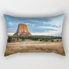Devils Tower - Giant Monolith Drenched in Sunlight on Autumn Day in Wyoming Rectangular Pillow