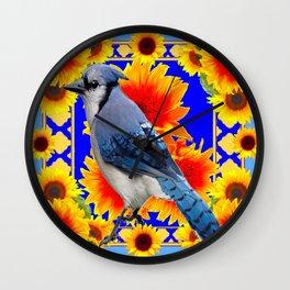 BLUE JAY & GOLDEN SUNFLOWERS WILDLIFE ART Wall Clock