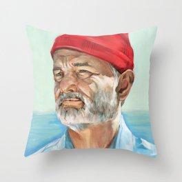 Steve Zissou Bill Murray Painted Portrait Throw Pillow