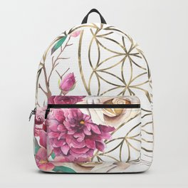 Flower of Life Rose Garden Gold Backpack