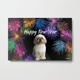 Top Model Paul Shih Tzu Dog - Happy New Year Fireworks Metal Print