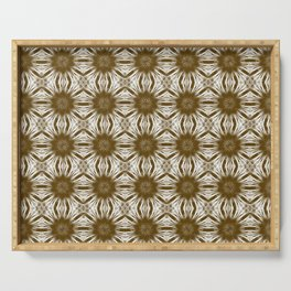 Brown Floral Abstract Serving Tray
