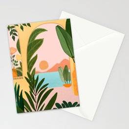 Moroccan Coast - Tropical Sunset Scene Stationery Cards
