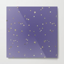 Gold Stars on Purple Night Sky Metal Print