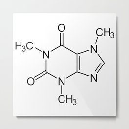 Caffeine Molecule Metal Print