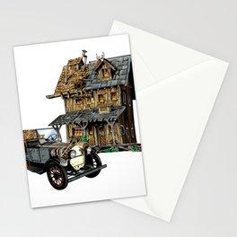 Patch work illustrator house design Stationery Cards