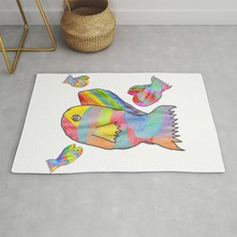 Rainbow fish by Elisavet | colorful #society6 Rug