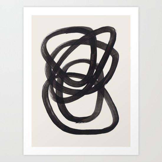Mid Century Modern Minimalist Abstract Art Brush Strokes Black & White Ink Art Spiral Circles by enshape