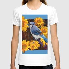 BLUE JAY YELLOW SUNFLOWERS ART T-shirt
