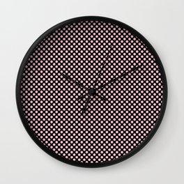 Black and Rose Shadow Polka Dots Wall Clock