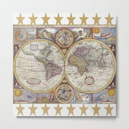 Vintage Map with Stars Metal Print