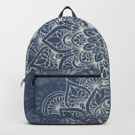Boho Mandala, Flower, Navy Blue Backpack