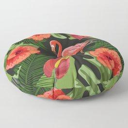 Tropical Pink Flamingo Red Hibiscus Floor Pillow