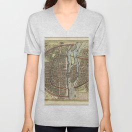 Vintage Map Print - 1572 map of Paris by Georg Braun & Frans Hogenberg Unisex V-Neck