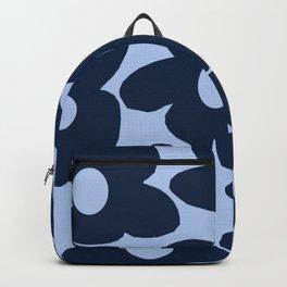 Large Dark Blue Retro Flowers Baby Blue Background #decor #society6 #buyart Backpack