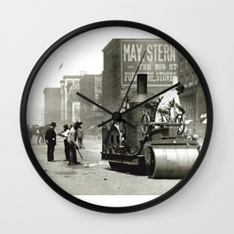 Street Workers Using a Steam Roller Wall Clock