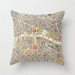 Paris, France City Map Vintage Poster, Eiffel Tower, Notre-Dame, Champs-Elysees, Arc de Triomphe, Latin Quarter Throw Pillow