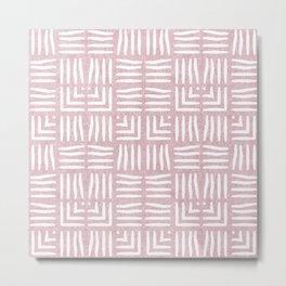 Nappy Faux Velvet Wicker Weave in Powder Pink on Pink Metal Print