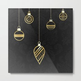 Decorative Gold Geometry On Black Damask Metal Print