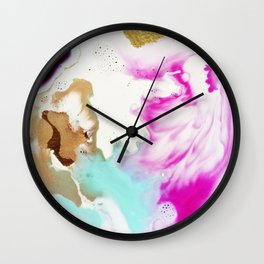 Happiness Ever Abstract Watercolor Painting Wall Clock
