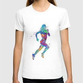 Girl Running Colorful Watercolor Sports Art T-shirt