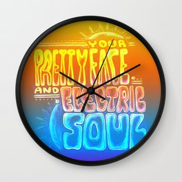 """""""Your Pretty Face and Electric Soul"""" by RenPenCreations Wall Clock"""