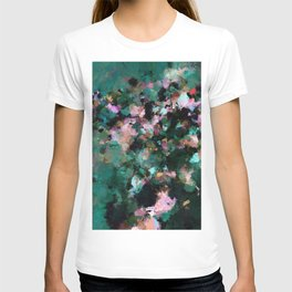 Contemporary Abstract Wall Art in Green / Teal Color T-shirt