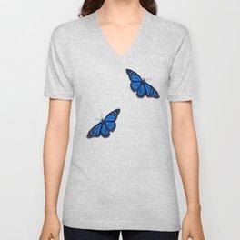 Blue Monarch Butterfly Unisex V-Neck