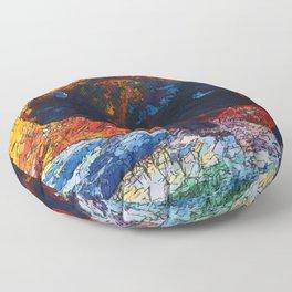 Wild the Storm Bison Painting by OLena Art Floor Pillow