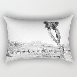 Vintage Desert Scape B&W // Cactus Nature Summer Sun Landscape Black and White Photography Rectangular Pillow