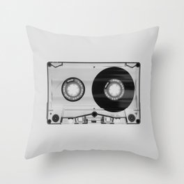 Vintage 80's Cassette - Black and White Retro Eighties Technology Art Print Wall Decor from 1980's Throw Pillow
