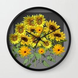 GREY YELLOW SUNFLOWER FIELD ART Wall Clock