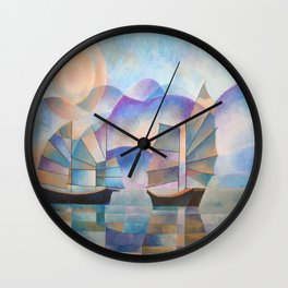 Shades of Tranquility - Cubist Junks Wall Clock