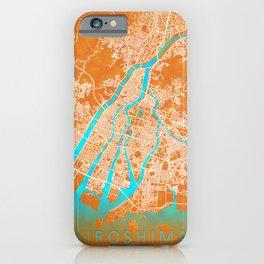 Hiroshima, Japan, Gold, Blue, City, Map iPhone Case