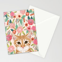 Orange Tabby floral cat head cute pet portrait gifts for orange tabby cat must haves Stationery Cards