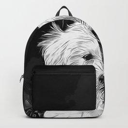 maltese dog vector art black white Backpack