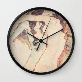 Two Women Embracing, Egon Schiele Wall Clock