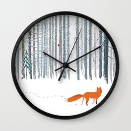 Fox in the white snow winter forest illustration Wall Clock