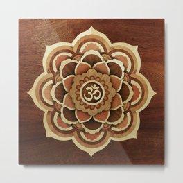 Buddha mandala wood marquetry Metal Print