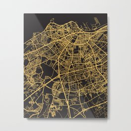 CASABLANCA MOROCCO GOLD ON BLACK CITY MAP Metal Print