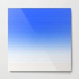 Sky Blue White Ombre Metal Print