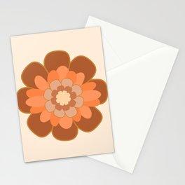 Morelia Flower Single in Peach, Blush, Rust, Mustard, Cream - Retro Modern Floral  Stationery Cards