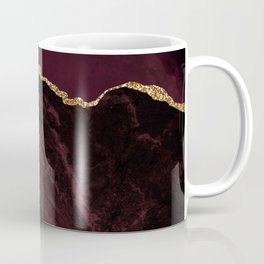 Burgundy & Gold Agate Texture 02 Coffee Mug