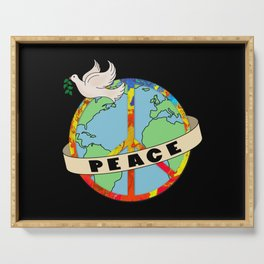 World Peace, Dove, Peace Sign, Earth Serving Tray